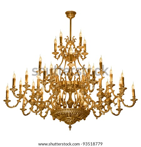 Vintage chandelier isolated on white background - stock photo