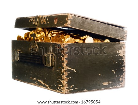 vintage chest full of gold on white - stock photo