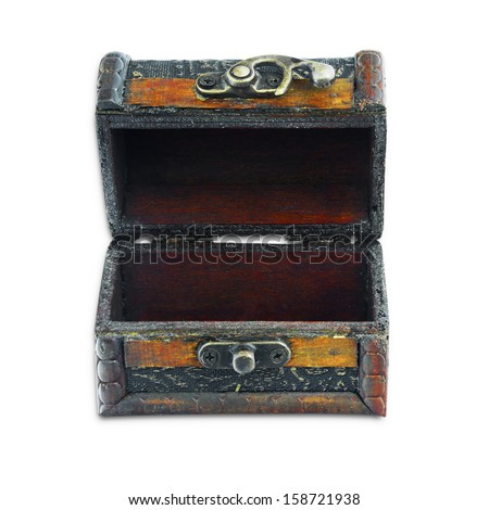 Vintage chest on isolated white background - stock photo