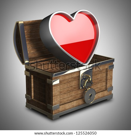 vintage chest with big heart High resolution 3d - stock photo