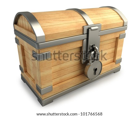 vintage chest with lock isolated on white background high resolution 3d render - stock photo