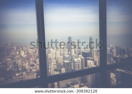 Vintage Chicago Skyline Aerial View  - stock photo