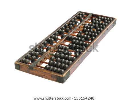 Vintage chinese abacus isolated on white background