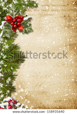 Vintage Christmas background - stock photo