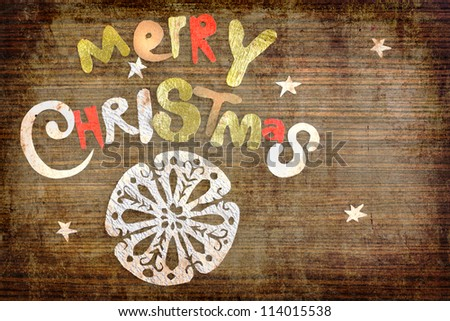 Vintage christmas background/Vintage Christmas Card. Merry Christmas lettering - stock photo