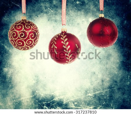 Vintage Christmas Background With Christmas Balls - stock photo