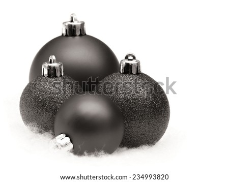 Vintage christmas baubles on white - stock photo