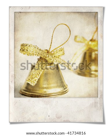 Vintage Christmas Bells in instant photo frame - stock photo