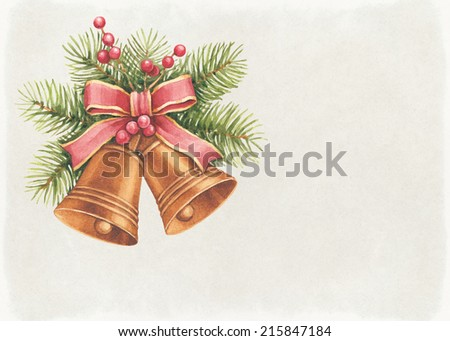 Vintage Christmas card. Watercolor bells and pine with decorations  - stock photo