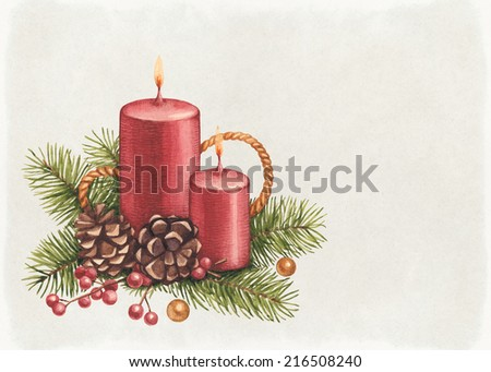 Vintage Christmas card. Watercolor candle and pine with decorations  - stock photo