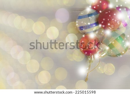 Vintage Christmas card with christmas decorations on  background with reflections - stock photo