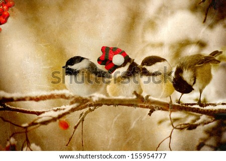 Vintage Christmas card with four adorable chickadees in the snow with copy space.