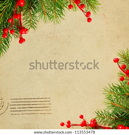 Vintage Christmas card with green xmas tree and red holly berry border - stock photo