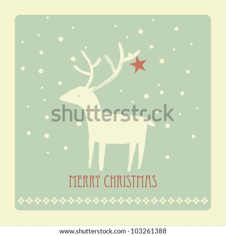 Vintage Christmas Card with white deer - stock photo