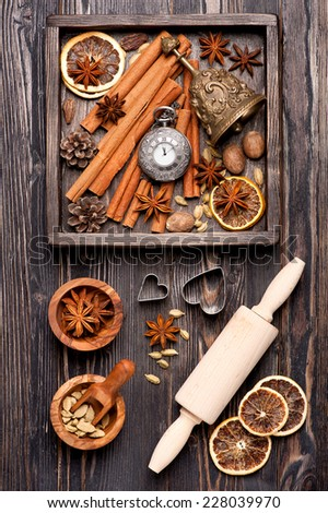 Vintage Christmas composition.  Christmas Spices for baking and decorating - stock photo