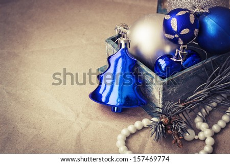Vintage Christmas decoration over paper background - stock photo