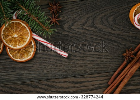 vintage christmas decorations, photo with shallow dof - stock photo