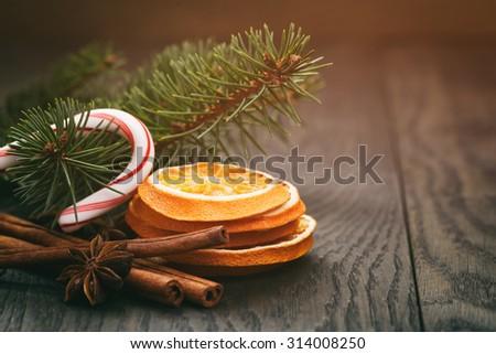 vintage christmas decorations, toned photo with shallow dof - stock photo