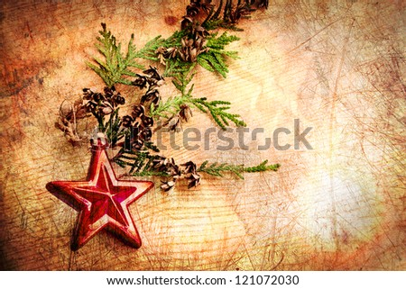 vintage christmas decorations with christmas tree and wooden background - stock photo