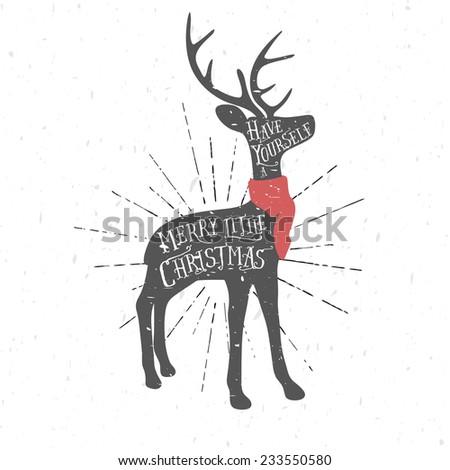 Vintage Christmas greeting card with reindeer - stock photo
