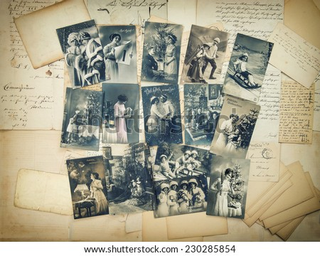 Vintage christmas holidays postcards typical for early 20-th century. retro style toned picture - stock photo