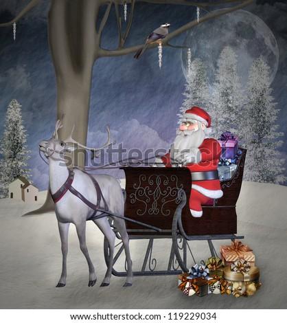Vintage christmas illustration - Santa Claus and his reindeer - stock photo