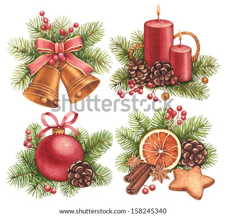 Vintage Christmas illustrations. Christmas ball, candle, bells, gingerbread cookies and decorations - stock photo