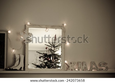 Vintage Christmas Interior Christmas Tree Reflected in Mirror Stock Photo - stock photo