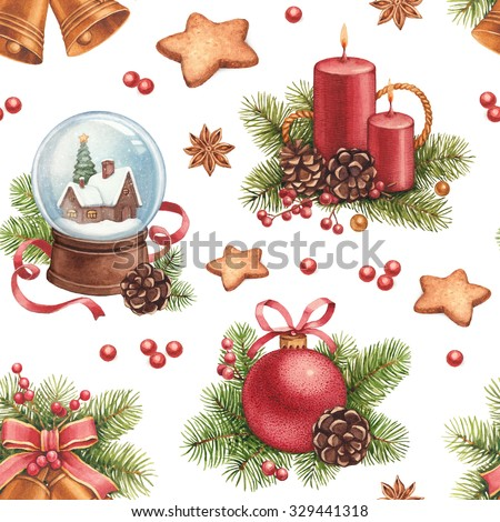 Vintage Christmas pattern. Watercolor illustrations of Christmas decorations - stock photo