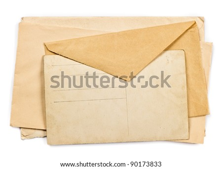 vintage christmas postcard and envelopes on white background
