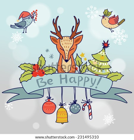 Vintage Christmas ribbon banner with deer, birds and other elements.