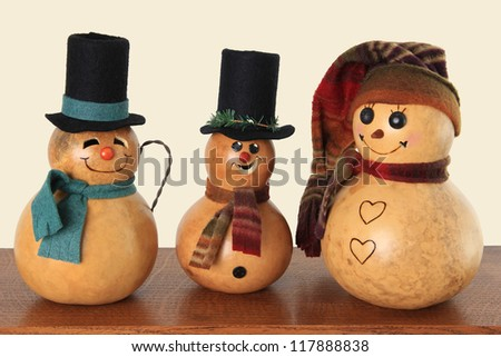 Vintage Christmas snowmen. - stock photo