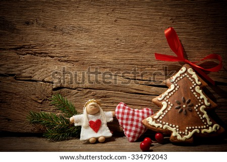 Vintage christmas toys on wooden background