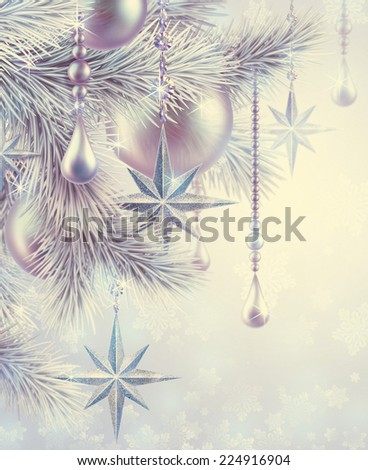 vintage Christmas tree ornaments and decorations background, winter holiday illustration