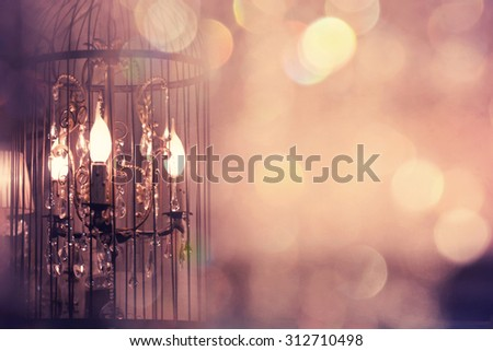 Vintage Chrystal chandelier - stock photo