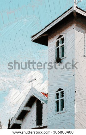 Vintage Church Exterior, Vertical , Color oil Painting , Illustration - stock photo