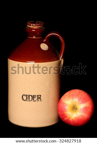 Vintage cider bottle and apple cutout - stock photo