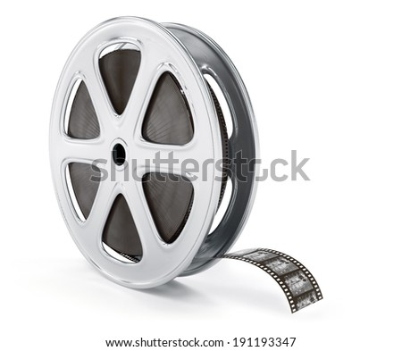 Vintage cinematography reel film on disc. 3d rendered illustration. Isolated on white background