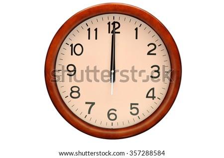 Vintage circle clock wooden frame isolate on white background - stock photo