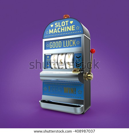 vintage classic slot machine with currency symbols on reels. isolated  on color background 3d render