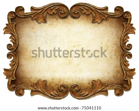 vintage classical frame isolated - stock photo