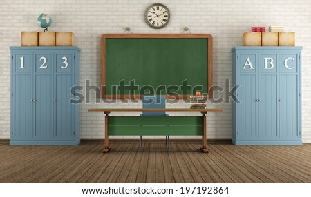 Vintage classroom with blackboard; teacher's desk and two wooden cabinets - rendering - stock photo