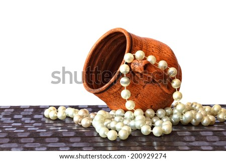 Vintage clay cup (mag) and beads on the white background