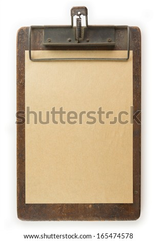 Vintage clipboard and piece of paper Isolated on white. - stock photo