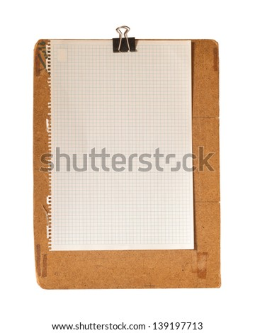 Vintage clipboard with an old recycled graph paper isolated on a white background