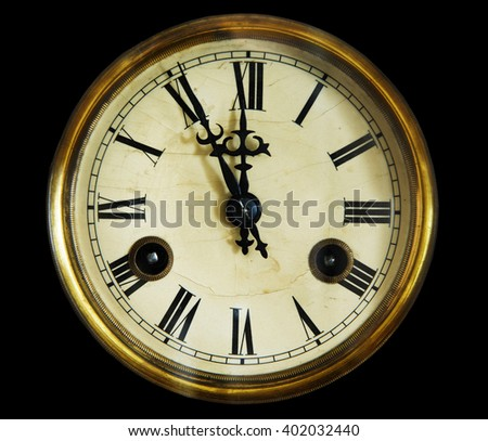 vintage clock face, isolated on a black background. Late 19th century