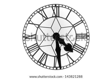 Vintage clock face on white background - stock photo