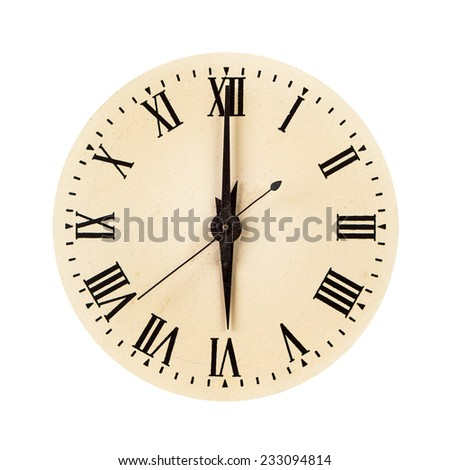 Vintage clock face showing six o'clock isolated over white - stock photo