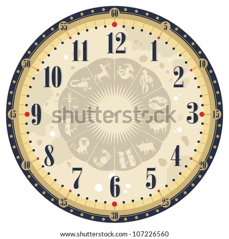 Vintage clock face template with zodiac signs
