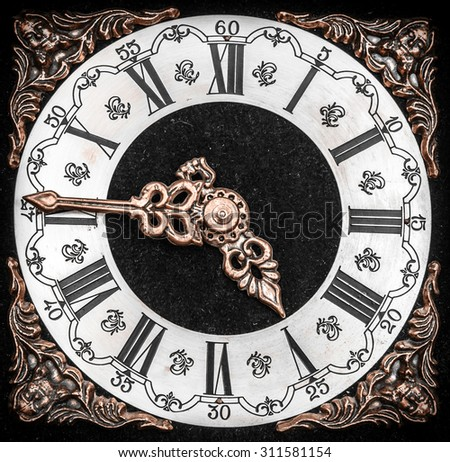 Vintage clock face with grunge texture. Time concept. - stock photo